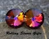 Volcano 12mm Swarovski Rivoli Rhinestone Stud Earrings-Large Volcano Crystal Studs-Color Changing Rivoli Crystal Stud Earrings