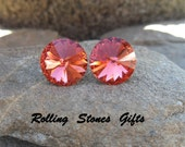 Padparadscha 12mm Swarovski Rivoli Rhinestone Stud Earrings-Padparadscha Crystal Studs-Large Pink Crystal Rivoli studs-