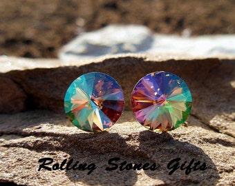 12mm, Waterlily Studs. Swarovski Earrings, Rivoli Earrings, Waterlily Crystal, Color Changing Crystal, Stud Earrings, Large Rhinestone Studs