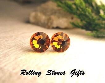 Topaz Swarovski 7.27mm Flat back Rhinestone Stud Earrings-Topaz Crystal Studs-November Birthstone Flat back Studs-Small Flat Back Earrings