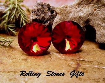Siam Swarovski 12mm Rivoli Rhinestone Stud Earrings-Deep Red Crystal Studs-Surgical Steel Studs-Large Red Crystal Studs