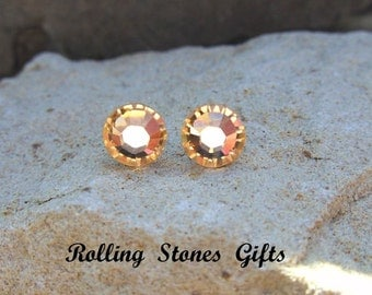 Light Peach Swarovski 7.27mm Flat back Rhinestone Stud Earrings-Crystal Studs-Peach Studs