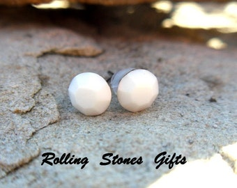 Chalk White 6.32mm Vintage Swarovski Round Rhinestone Stud Earrings-Snow Wite Studs-Crystal Studs-Vintage Studs
