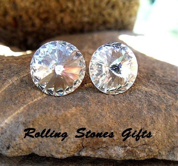 12mm, Crystal Swarovski, Rivoli Rhinestone,Stud Earrings, April Birthstone, Birthstone Studs, Large Ear Studs, Bridal Studs,
