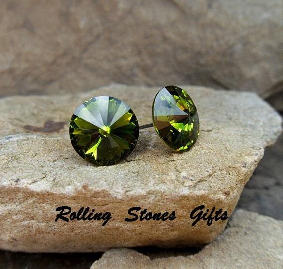Olivine Swarovski 12mm Rivoli Rhinestone Stud Earrings-Olive Green Crystal Studs-Large Swarovski Rivoli Green Crystal Studs