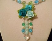 Turquoise & Teal, Victorian, Rose, Necklace, Flower, Swarovski, Crystals, Pearls,Choker, Steampunk, Fantasy, French,  Necklace, Choker