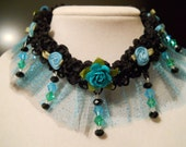 Victorian, Collar, Choker, Turquoise, Black, Mermaid, Rose, Edwardian, Goth, French, Art Nouveau, Fairy, Kawaii, Teal, Choker with Crystals