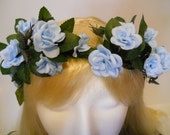 Wedding, Flower Crown, Head Wreath, Something Blue, Rose, for Bride, Flower Girls, Woodland, Fairy or Renaissance Fairs, Ballet or Rave