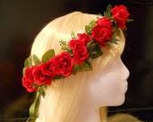 Flower Crown, Head Wreath, Red, Rose, Love, Wedding, Christmas, Holiday, Valentines Day, Bride, Flower Girl, Bridal, Headpiece, Tiara, Pixie
