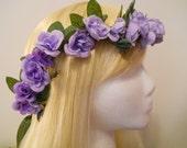 Flower Crown, Head Wreath, Lavender, Purple, Rose, Wedding, Flower Girl, Bride, Prom, Violet, Mardi Gras Costume, Woodland, Fairy, Ren Fairs