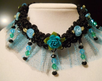 Victorian Choker with Turquoise Black Rose Edwardian Goth French Art Nouveau Fairy Kawaii Mermaid Costume Teal Roses Choker with Crystals