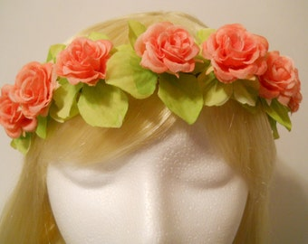 Rose Flower Crown, Head Wreath Coral Rose Peach Green Boho Wedding Boho Bride Festivals Prom EDC Flower Girl Circlet Hippie Mystic Fairy