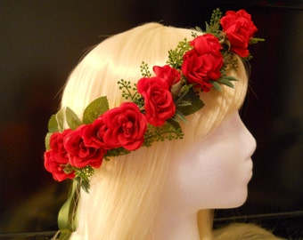 Red Rose Flower Crown Head Wreath Red Rose Wedding Flowers Red Bride Bridal Red Flower Girl Christmas Holiday Valentines Day Red Headpiece