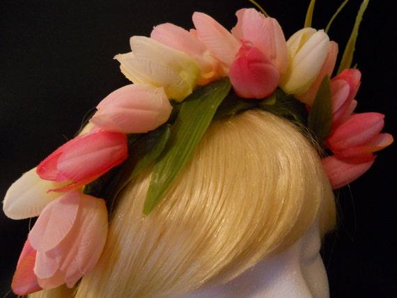 Flower Crown, Head Wreath, Pink & White Tulip Headband, Wedding, Easter, Prom, Spring, Rave, Ballet, Fairy, Flower girl, Mori Girl, Lolita