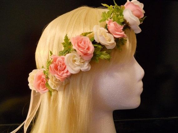 Flower Crown Head Wreath Pink White Rose Wedding Flower
