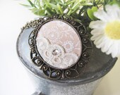 Necklace - Vintage Gold Cameo, Elegant Floral Fabric and Lace OOAK (SNL07)