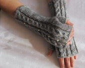 Fingerless Gloves Knitted long, grey color, fall winter wear, cable design,Christmas gift.