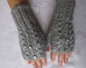 Fingerless Gloves Knitted short, grey color, fall winter wear, cable design