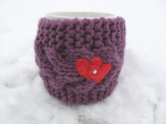 Red heart Mug Cozy, Cup Cosy, Mug Warmer knitted, purple color,valentines gift Will fit standard size mug