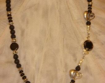 Silver, Lava Rock & Onyx Necklace