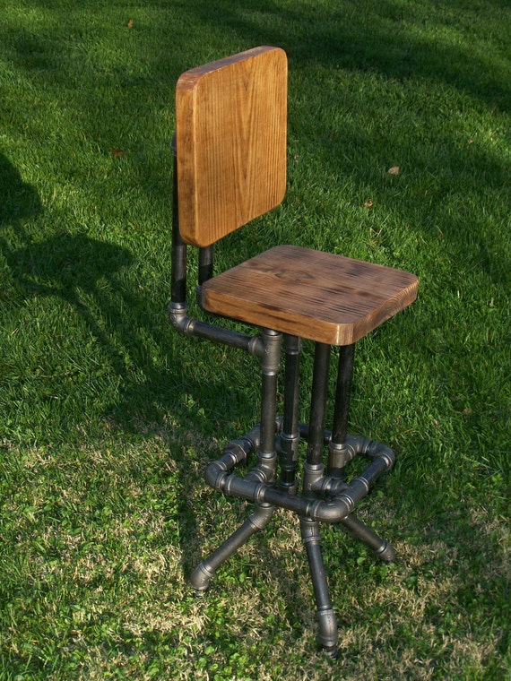 Items Similar To Industrial Bar Stool With Back On Etsy