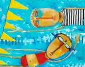 "Colorful, whimsical, illustrative wall art print from original acrylic painting, ""Swimming Is Hard"""