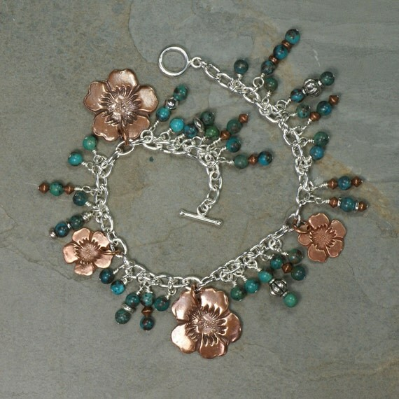 Copper Flower & Turquoise Beaded Charm Bracelet