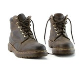 Perfectly Punk: Brown Dr. Martens 6 Eye Classic Boots. Padded Cuff Combat Boots. Made in England - Mens UK Size 10 US 10.5 11