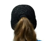 Ponytail Beanie Crochet Black with Silver