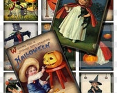 Halloween Kids Children Images Digital Collage Sheet diy Download Print ATC ACEO Cards Tags Instant Download AC07