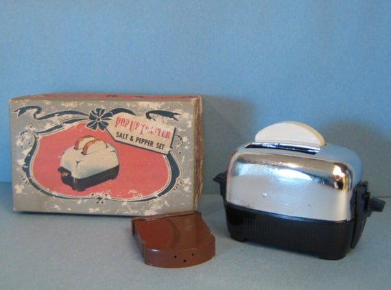 RESERVED for Luisa... Retro Mid-Century Vintage Toaster and Toast Salt and Pepper Shakers Home Decor
