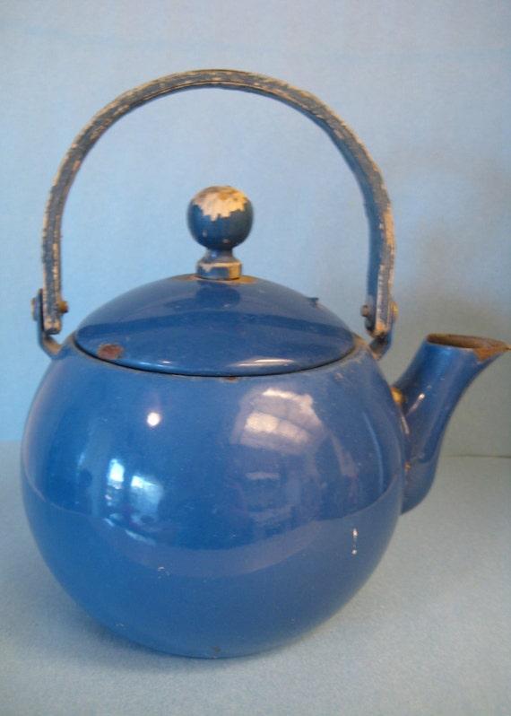 Vintage Blue Enamel / Enamelware Rustic Tea Pot / Kettle
