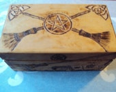 Witches Tool Box Wood Burned Broom Pentacle Golden Pecan Finish