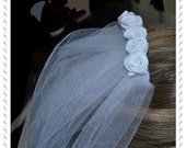 Beautiful Handmade First Communion Veil with White Rosettes