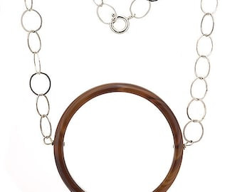 Karma Circle Brown Agate Semi Precious Gemstone Necklace