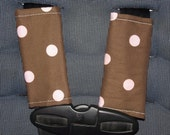 New Handmade infant car seat strap covers - Brown with pink polka dots