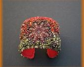 Bead embroidered cuff, flower bracelet, flower cuf