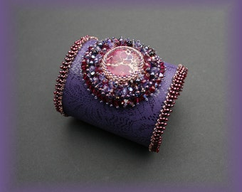 Bead embroidered leather cuff , purple cuff