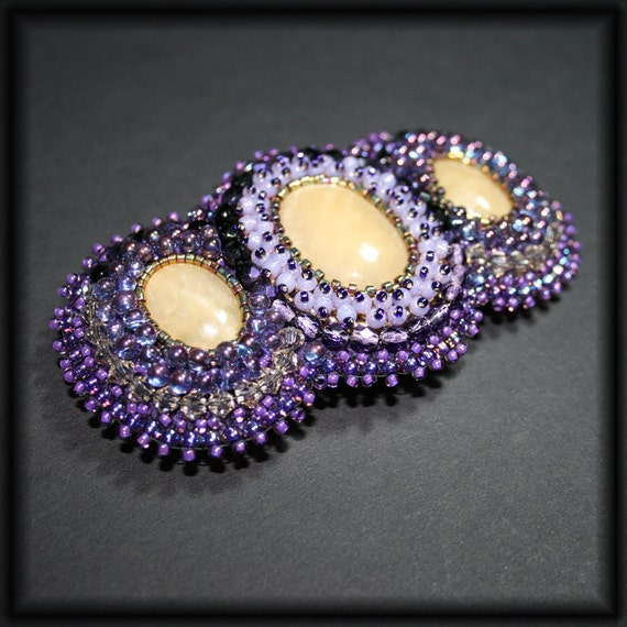 Bead embroidered barrette - my sweet violet