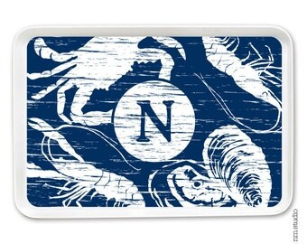 Personalized Melamine Tray - SEAFOOD weathered
