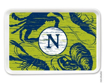 Personalized Melamine Tray - SEAFOOD weathered 2 COLOR