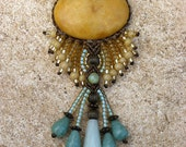 Winter Sun - womens micro macramé necklace with stone beads and Japanese glass seed beads - handmade beadwork in Israel