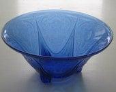 "Hazel Atlas Cobalt Blue ROYAL LACE 10"" Straight Edge 3-Footed Bowl Depression Glass"