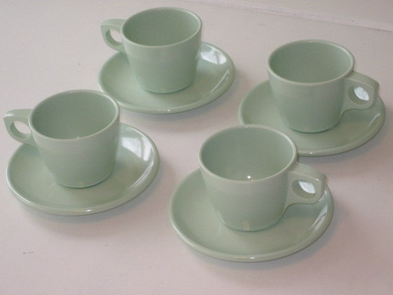 Four Sets Vintage Soft Mint Green BOONTONWARE Cups and Saucers