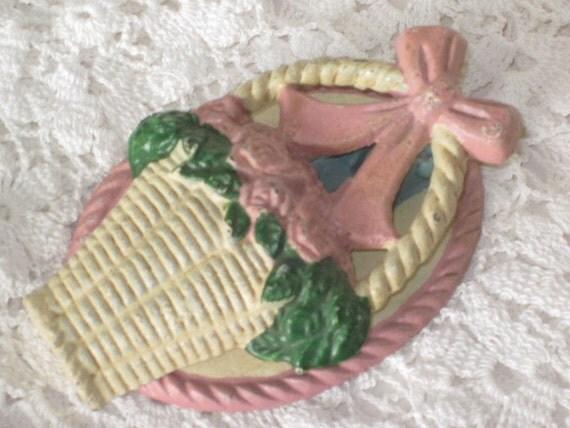 Vintage Cream Pink and Green Flower Backet Iron DOOR KNOCKER