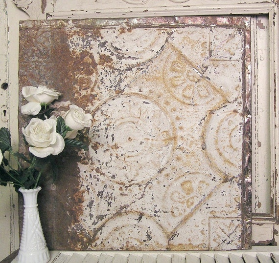 Vintage Tin Ceiling Tile 20x20 Framed Antique Tin Tile