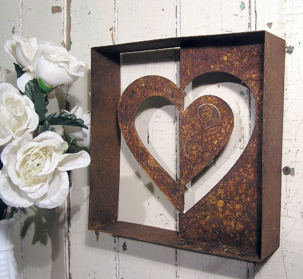heart metal wall art negative wall decor by elementsbytimbers. Black Bedroom Furniture Sets. Home Design Ideas
