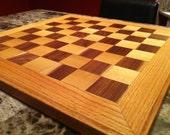 Oak and Walnut Checker Board. Solid Hardwood Chess Board.
