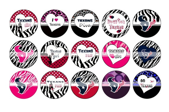 OFF %40 - INSTANT DOWNLOAD - Inspired Bottle Cap Images - Houston Texans - Digital Collage Sheet 1 inch Circles 15 Different Designs