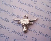 Silver Plated Pewter Western Longhorn Sports Charms Pendants